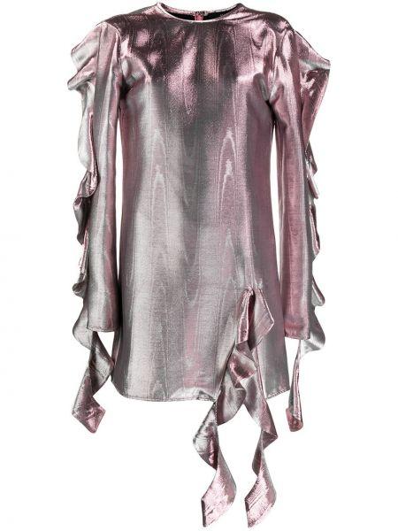 Różowa sukienka mini z długimi rękawami bawełniana Ellery