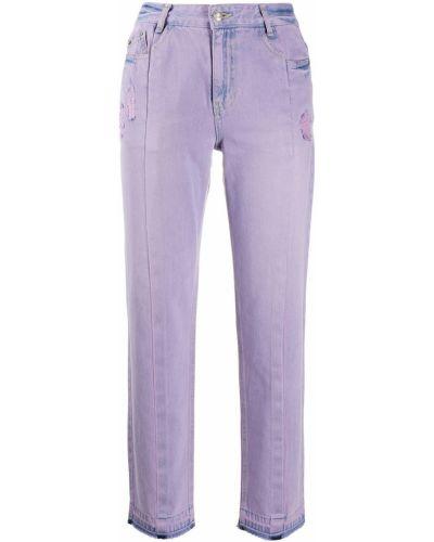 Классические фиолетовые укороченные джинсы с нашивками с высокой посадкой Sjyp
