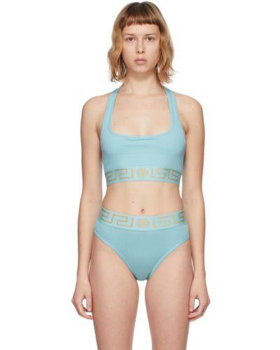 Złoty niebieski biustonosz sportowy Versace Underwear