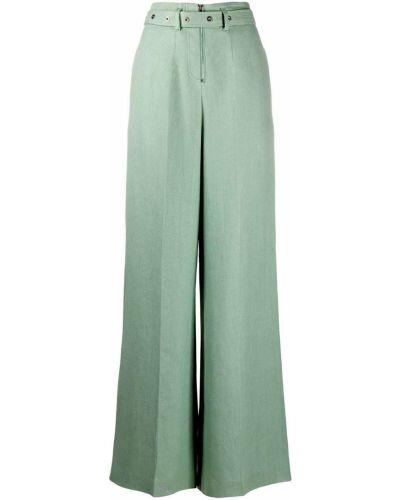 Зеленые свободные брюки с поясом свободного кроя на молнии Mrz