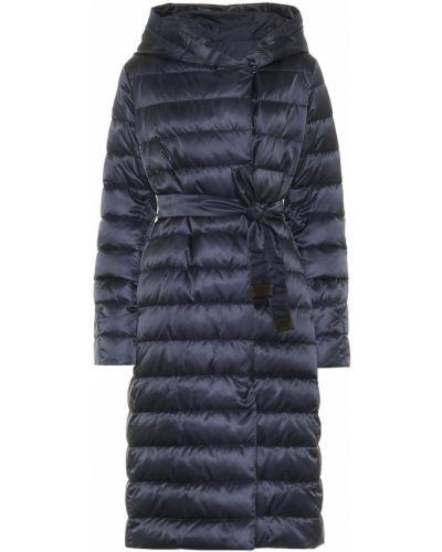 Текстильное синее стеганое пальто двустороннее Max Mara