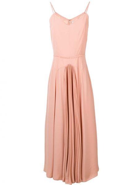 Розовое приталенное тонкое платье миди на бретелях Noon By Noor