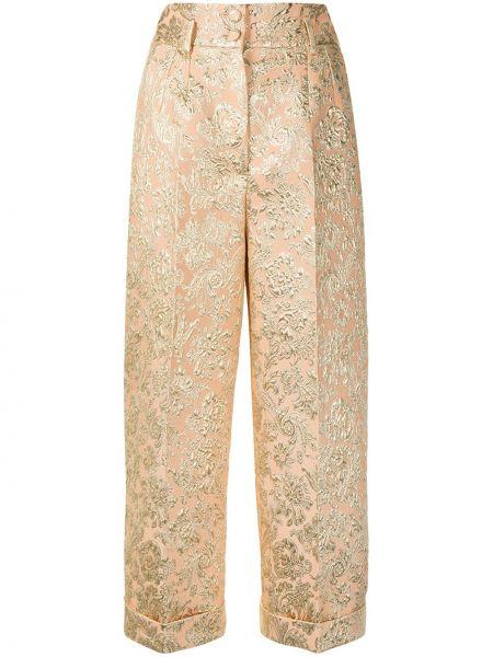 Брючные бежевые укороченные брюки с карманами Dolce & Gabbana
