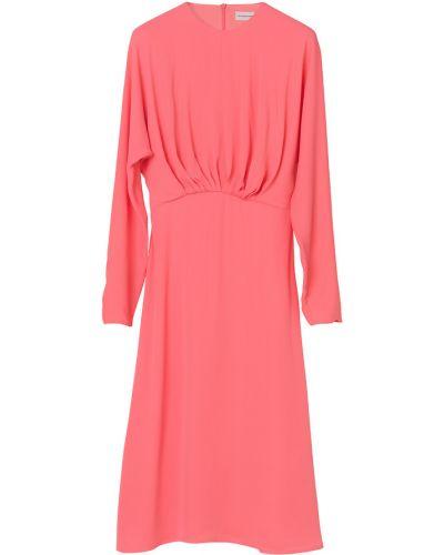 Różowa sukienka midi elegancka z długimi rękawami By Malene Birger
