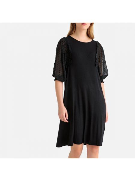 Черное расклешенное платье миди из фатина с вырезом La Redoute Collections
