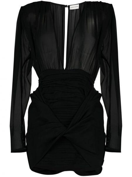 Шелковое черное платье макси с длинными рукавами Magda Butrym