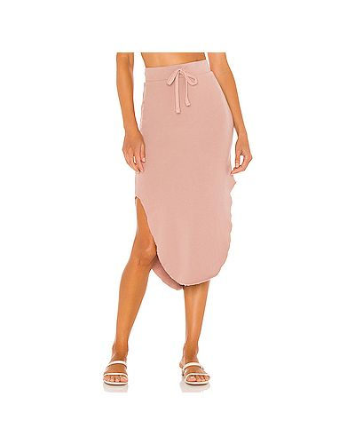 С кулиской хлопковая розовая юбка на резинке Frank & Eileen