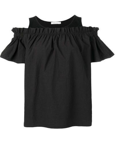 Свободная черная блузка с открытыми плечами с оборками Neul