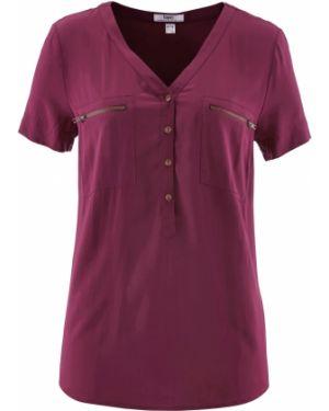 Блузка с коротким рукавом с V-образным вырезом на молнии Bonprix