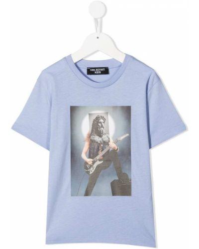 Ватная хлопковая синяя рубашка с короткими рукавами Neil Barrett Kids