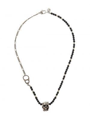 Черное ожерелье с подвесками металлическое с черепами Alexander Mcqueen