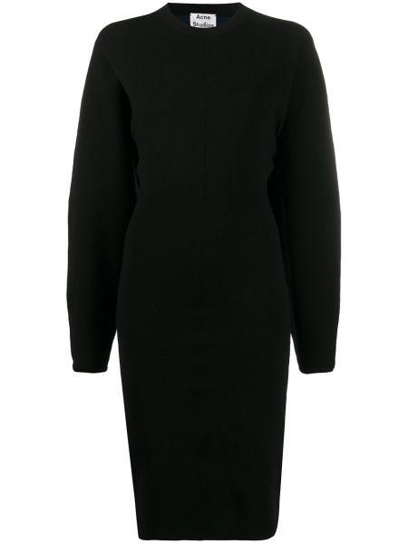 Платье миди черное приталенное Acne Studios