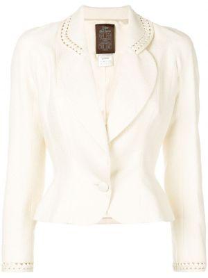 Шелковый приталенный белый пиджак John Galliano Pre-owned