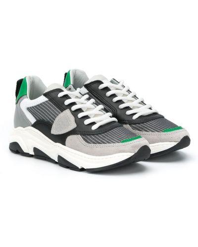 Массивные серые кожаные кроссовки на шнуровке Philippe Model Kids