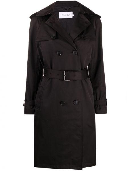 Czarny długi płaszcz bawełniany z długimi rękawami Calvin Klein