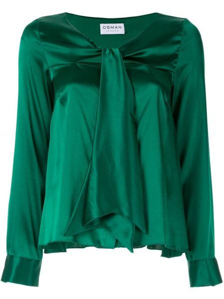 Zielona koszula z długimi rękawami z jedwabiu Osman