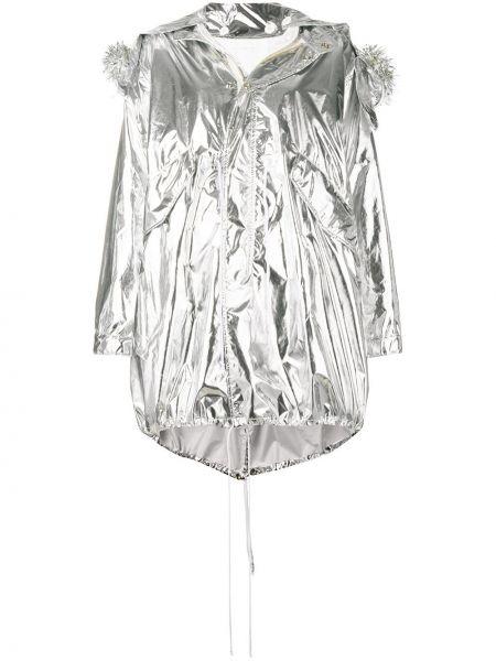 Серая хлопковая длинное пальто с опушкой Mm6 Maison Margiela