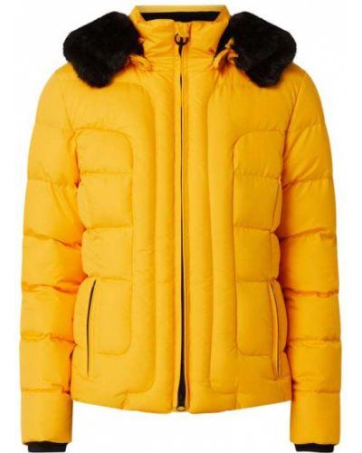 Żółty kurtka z kapturem z futrem z mankietami z kieszeniami Wellensteyn