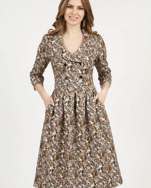 Платье с запахом осеннее Olivegrey