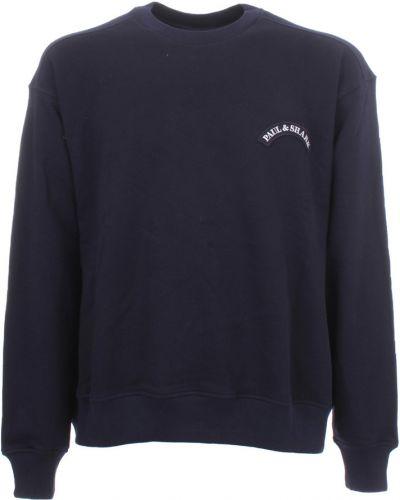 Fioletowy długi sweter z printem na co dzień Paul & Shark