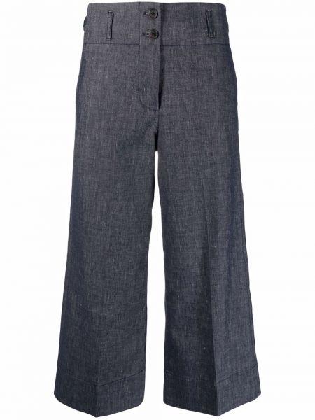 С завышенной талией льняные укороченные брюки с карманами Paul Smith