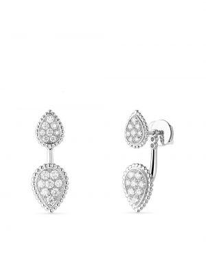Białe złote srebrne kolczyki z diamentem Boucheron