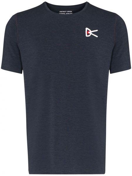 Niebieski t-shirt z printem krótki rękaw District Vision