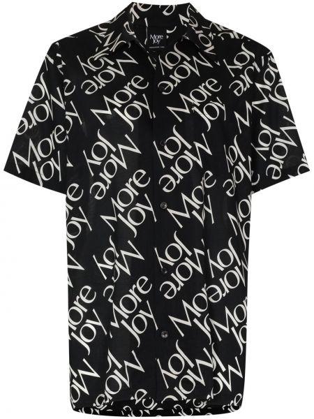 Czarna koszula bawełniana z printem More Joy