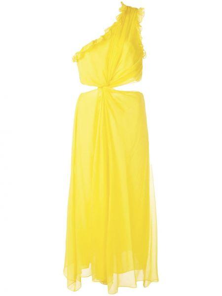 Желтое платье миди на одно плечо с оборками без рукавов Cinq À Sept