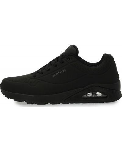 Кожаные черные кроссовки на шнуровке Skechers