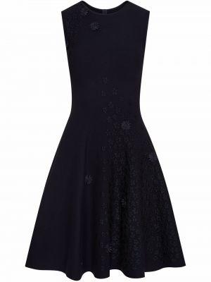 Платье из вискозы - синее Oscar De La Renta