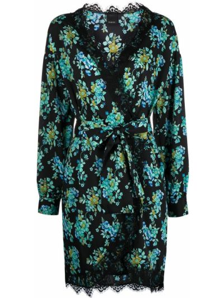 Кружевное черное платье макси с длинными рукавами Pinko