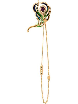 Тонкая акриловая брошь золотая Dolce & Gabbana
