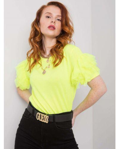 Żółty t-shirt bawełniany z falbanami Fashionhunters