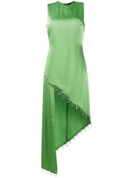 Zielona sukienka koktajlowa asymetryczna bez rękawów David Koma