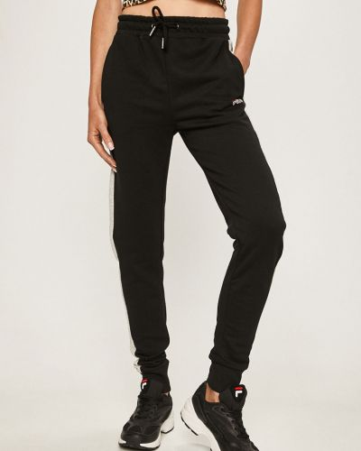 Черные брюки на резинке с нашивками с воротником с поясом Fila
