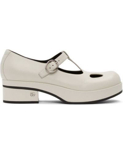 Biały loafers z klamrą na pięcie z prawdziwej skóry Gucci