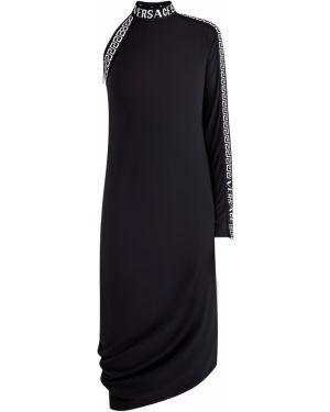 Облегающее платье на одно плечо со складками Versace