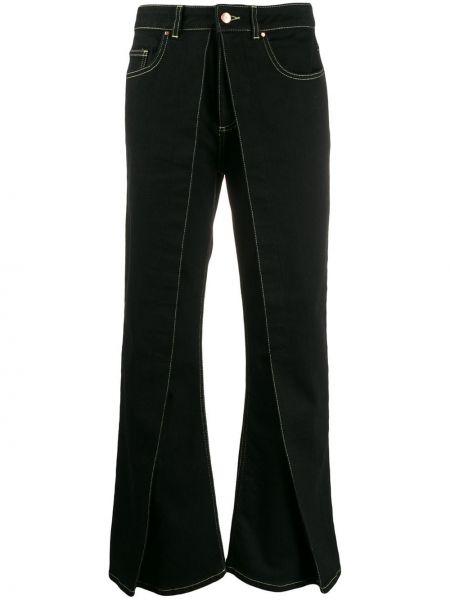 Czarne spodnie skorzane z paskiem Aalto