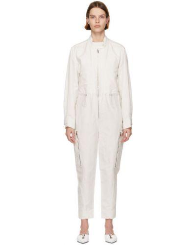Льняной белый комбинезон с карманами Stella Mccartney