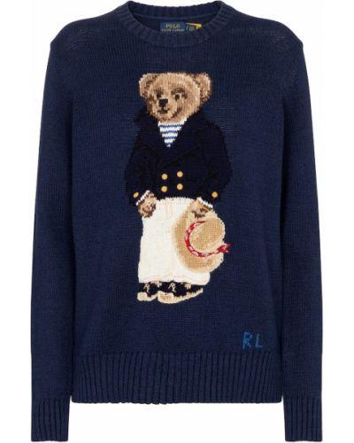 Домашний льняной синий свитер с медведем Polo Ralph Lauren