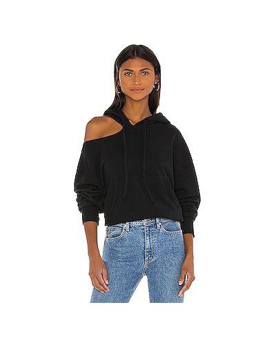 Хлопковый черный свитер с подкладкой с вырезом Lna