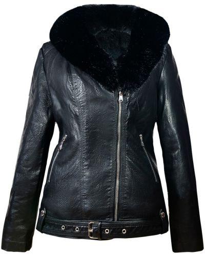 Кожаная куртка с мехом - черная Rozetka