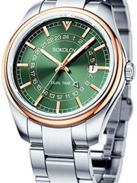 Серебряные кварцевые часы круглые с поясом с бабочкой Sokolov