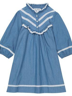 Хлопковое кружевное синее платье Tartine Et Chocolat