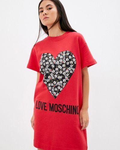 Платье-футболка - красное Love Moschino