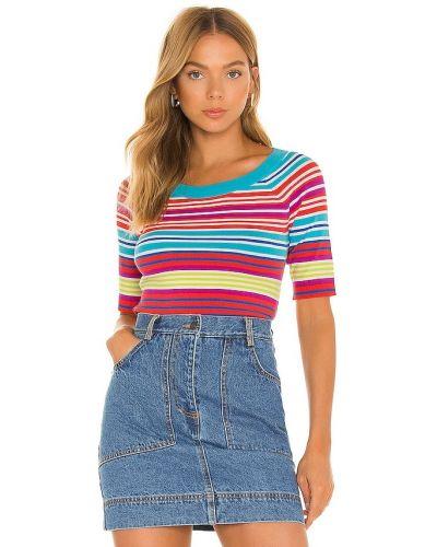 Niebieska koszulka z wiskozy prążkowana Milly