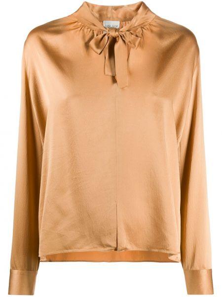 Шелковая блузка с бантом с вырезом Forte Forte