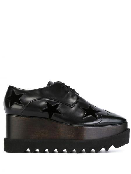 Лоферы черные на каблуке Stella Mccartney