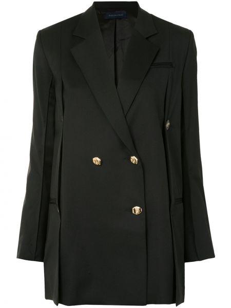 Черный удлиненный пиджак двубортный с карманами Eudon Choi
